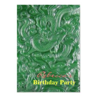 green jade chinese dragon sculpture card
