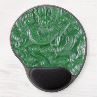 green jade chinese dragon sculpture gel mouse pad