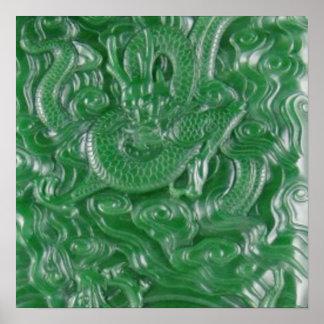 green jade chinese dragon sculpture poster
