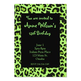 Green Jaguar Print Girls Invitation