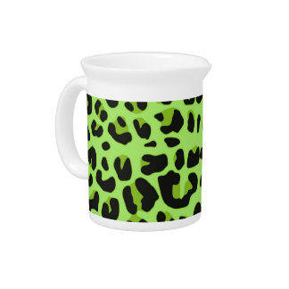 Green Jaguar Print Pitcher