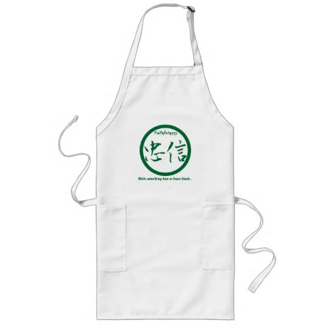 Green Japanese kamon • Faithfulness kanji Long Apron