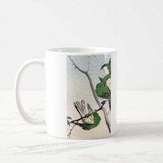 Green Japanese Sparrows no.2 Coffee Mugs