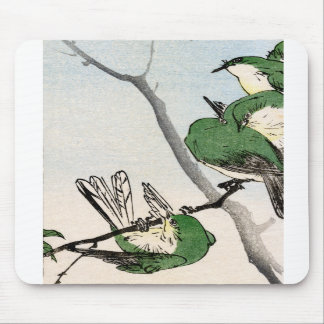 Green Japanese Sparrows no.2 Mouse Pads