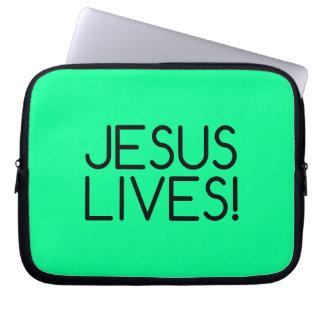 Green 'Jesus Lives!' Laptop Sleeve