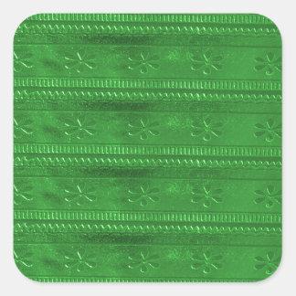 Green Jewel Stripes Template DIY add TEXT IMAGE 99 Square Sticker