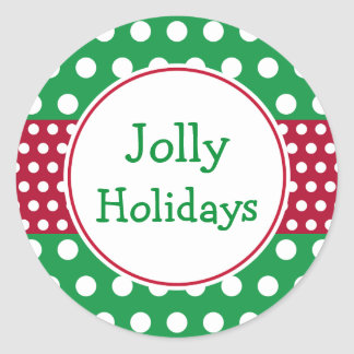 Green Jolly Holidays Christmas Stickers