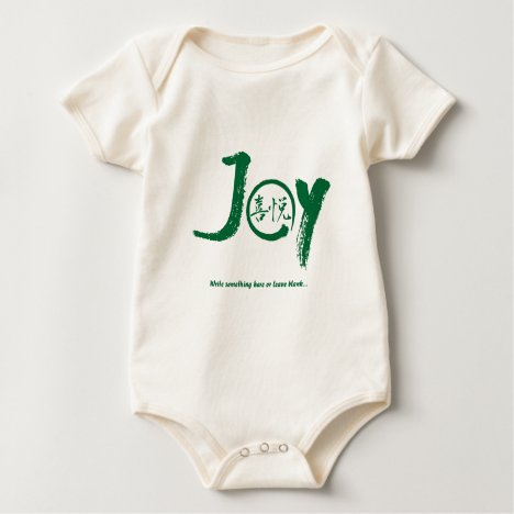 "Green joy kanji inside enso zen circle ""Joy"" Baby Bodysuit"