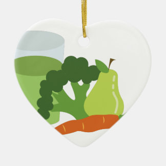 Green Juice Veggies Ceramic Ornament