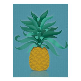 Green juicy pineapple wall art print