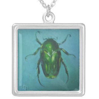 Green June Beetle (Flower Scarab) Silver Plated Necklace