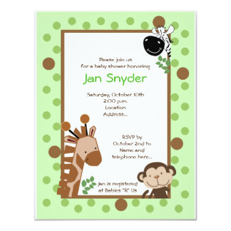 Green Jungle Adventure Safari Baby shower invitati 4.25x5.5 Paper Invitation Card