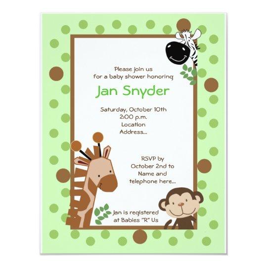 Green Jungle Adventure Safari Baby shower invitati Card