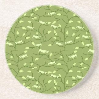 Green Jungle Birds Sandstone Coaster