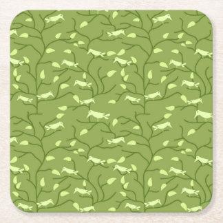 Green Jungle Birds Square Paper Coaster