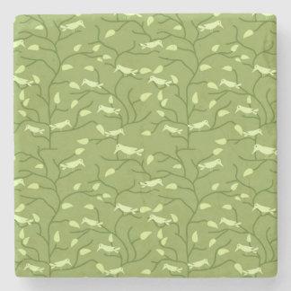 Green Jungle Birds Stone Coaster