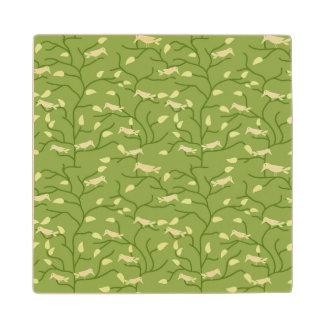 Green Jungle Birds Wood Coaster