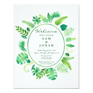 Green Jungle Leaf Wedding Invitation
