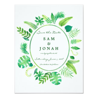Green Jungle Leaf Wedding Invitation Save the Date