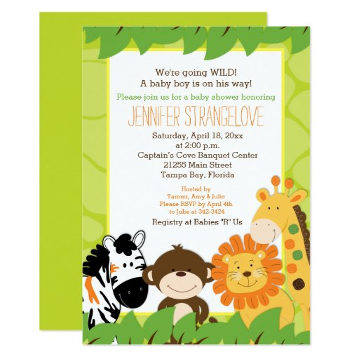 Green Jungle Safari Animals Baby Shower Invitation