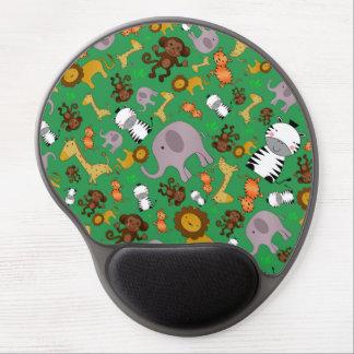 Green jungle safari animals gel mousepads