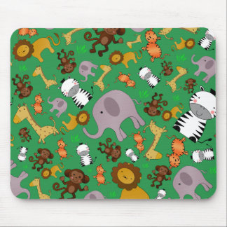 Green jungle safari animals mousepads