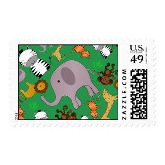 Green jungle safari animals postage stamps