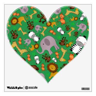 Green jungle safari animals room graphics