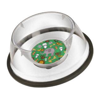 Green jungle safari animals pet bowl
