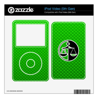 Green Justice Scales Skins For The iPod Video