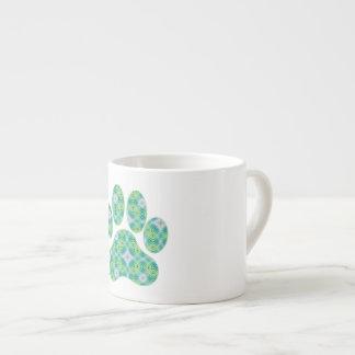 Green Kaleidoscope Infinity Paw Print Design Espresso Cup