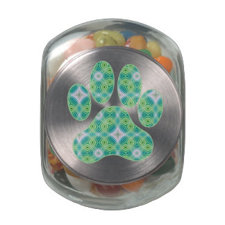 Green Kaleidoscope Infinity Paw Print Design Jelly Belly Candy Jars
