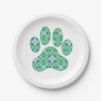 Green Kaleidoscope Infinity Paw Print Design Paper Plate