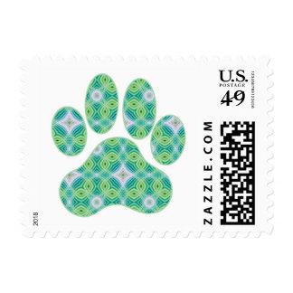Green Kaleidoscope Infinity Paw Print Design Postage