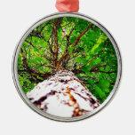 Green kaleidoscope leaves christmas ornaments