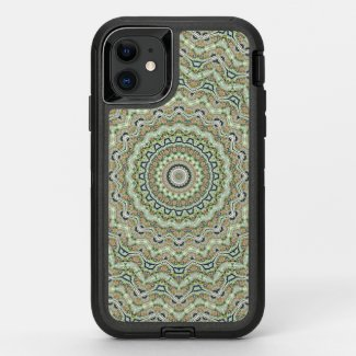 Green kaleidoscope OtterBox defender iPhone 11 case