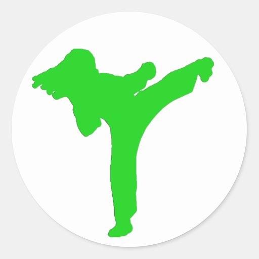 Green Karate Girl Stickers