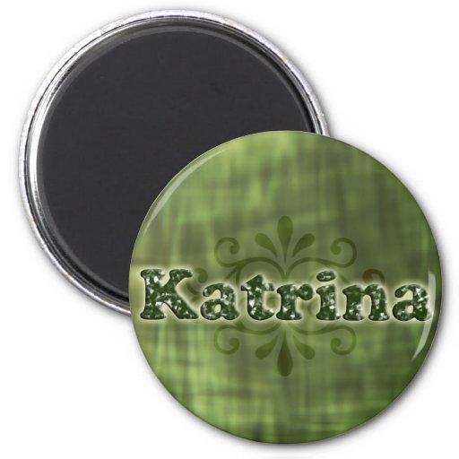 Green Katrina 2 Inch Round Magnet
