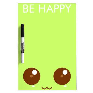 Green Kawaii Face Dry Erase Board