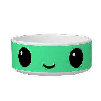 Green Kawaii face Pet Bowl