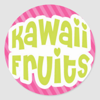 Green Kawaii Fruits Text on Pink Stripes Classic Round Sticker