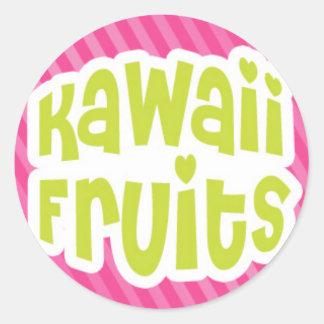 Green Kawaii Fruits Text on Pink Stripes Classic Round Sticker