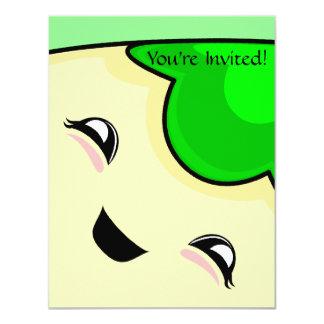 "Green Kawaii Tickle Monster 4.25"" X 5.5"" Invitation Card"
