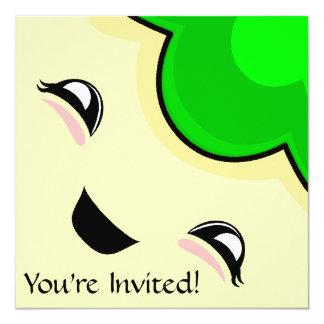 "Green Kawaii Tickle Monster 5.25"" Square Invitation Card"