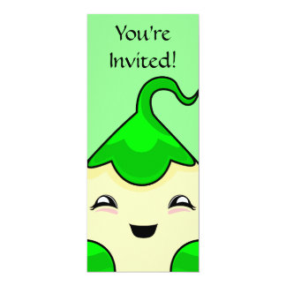 "Green Kawaii Tickle Monster 4"" X 9.25"" Invitation Card"