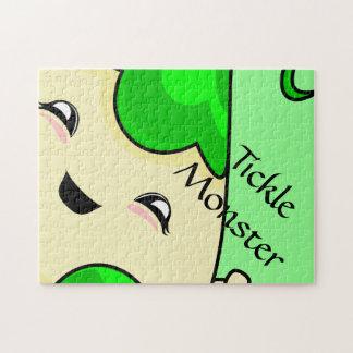 Green Kawaii Tickle Monster Jigsaw Puzzle