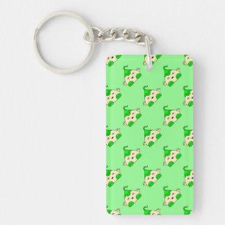 Green Kawaii Tickle Monster Rectangle Acrylic Key Chain