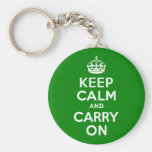 Green Keep Calm and Carry On Basic Round Button Keychain