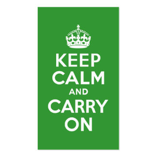 Green Keep Calm and Carry On Business Card Templates