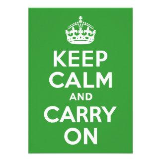 Green Keep Calm and Carry On Custom Invitations